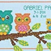 "DIMENSIONS Owl Mini Birth Record Counted Cross Stitch Kit, 7"" x 5"""