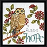 Tobin DW2790 14 Count Heartfelt Have Hope Owl Counted Cross Stitch Kit, 10 by 10-Inch