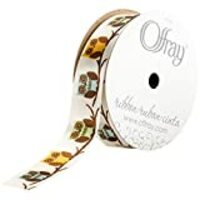 Offray, Cream Owls Craft Ribbon, 7/8-Inch x 9-Feet