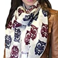 Anika Dali Women's Happy Owl Scarf in Soft and Lightweight Wool
