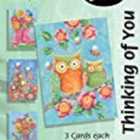 Divinity Boutique Greeting Card Assortment: Thinking of You, Owls and Boots (22183N)
