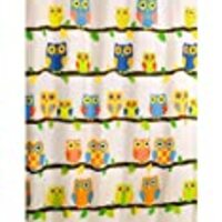 What a Hoot OWL Fabric Shower Curtain Yellow Blue Green Sequin Eyes Felt Leaves