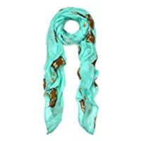 Premium Night Owl Print Fashion Scarf Wrap, Mint