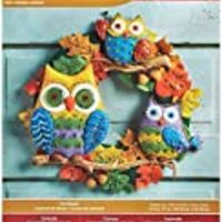 Bucilla Felt Applique Wall Hanging Kit, 17 by 17-Inch, Owl Wreath