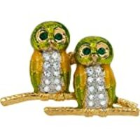 Owl Jeweled Gold Tack Pin