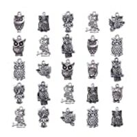 Pandahall 50pcs Antique Silver Tibetan Style Alloy Owl Pendants for Jewelry Making