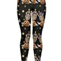 CowCow Womens Black Halloween Cartoon Owls Pumpkins Leggings, Black - XL