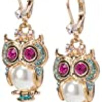"Betsey Johnson ""Pearl Critters"" Owl Drop Earrings"