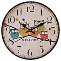 "Cute Wall Clock, 12"" Eruner Modern Family Animated Cartoon Decoration 12-Inch Wood Clock Painted Owl Lovely Style Silent Quartz Movement #12888 for Child Kid's Room Decal(Owl, M1)"