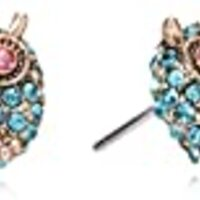 "Betsey Johnson ""Betsey's Delicates"" Pave Owl Stud Earrings"