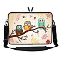 Meffort Inc 15 15.6 inch Neoprene Laptop Sleeve Bag Carrying Case with Hidden Handle and Adjustable Shoulder Strap - Three Owls