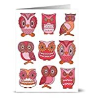 24 Note Cards - Owl Menagerie - Blank Cards - Hot Pink Envelopes Included