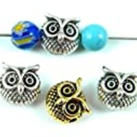 TVT TVT 12pcs Metal Owl Beads for Jewelry Making, Jewlery Findings TVT-RZ-55 (Antique Silver)