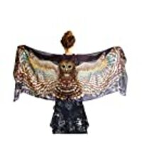 Pure Cotton Wearable Hand Painted & Digitally Printed Night Owl Artistic Shawl Scarf