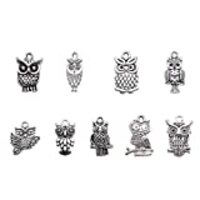 Beadthoven 50pcs Tibetan Style Alloy Owl Pendants, Vintage Owl Charm, Halloween Jewelry Charms, Mixed Shapes,Hole: 1~2mm (Antique Silver)