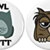 "Set 2 Owl Butt / Getting High Weed Marijuana Pot Humor 2.25"" Large Buttons Pins"