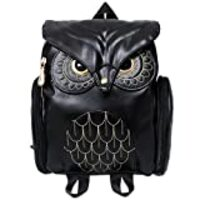 Women Girls Pu Leather Owl Cartoon Backpack Fashion Casual Satchel School Purse for Children/Students Black