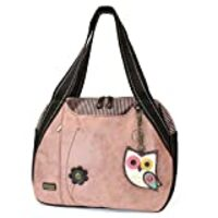 Chala Handbags Dust Rose Shoulder Purse Tote Bag with Bird Key Fob/coin purse (Owl)