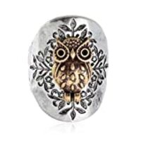 PammyJ Owl Two Toned Hammered Design Stretch Ring