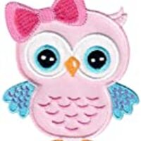 PatchMommy Iron On Applique Patch, Pink Owl - Kids Baby