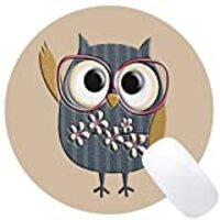 Wknoon Cute Owl Design Mouse Pad Round Mat