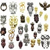 Kinteshun Night Owls Charm Alloy Multistyle Bird of Minerva Pendant Connector for DIY Jewelry Making Accessaries(32pcs,Antique Silver&Bronze Tone)