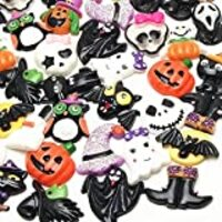 LibiIine 20pcs Mix Lots Halloween Pumpkin Skeleton Owl Bat Cat Resin Flatback Button Art Album Flatback Scrapbooking Embellishments Diy Decoration Scrapbooking Craft Accessory