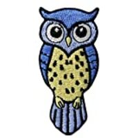 Cute Blue and Yellow Owl Applique Embroidered Badge Iron On Sew On Patch