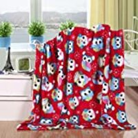 "Elegant Comfort Velvet Touch Ultra Plush Christmas Holiday Printed Fleece Throw/Blanket - 50"" x 60inch, (Owls)"