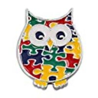 Fundraising For A Cause | Autism Puzzle Piece Owl Lapel Pin – Autism/Asperger's Spectrum Disorder Awareness Pins (1 Pin in a Gift Box)