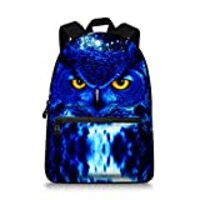 Canvas Adult Blue Owl Face Backpack College Students Bookbags Back to School