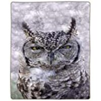 "Lavish Home Heavy Fleece Owl Pattern 74"" x 91"" Plush Thick 8 Pound Faux Mink Soft Blanket, Multicolor"