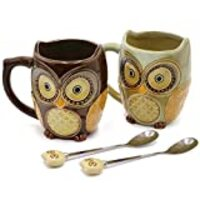 Sqowl Coffee Mug Cute Set of 2 Owl Ceramic Coffee Mugs with spoons Office Tea Cups for Women Men 12 oz Cyan and Brown