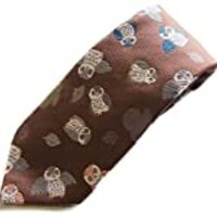 Hand Made Men's Japanese Kimono Pattern Luxury Brocade Neck Tie (Owl Brown)