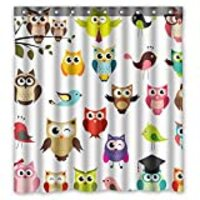 FMSHPON Owl Waterproof Polyester Fabric Shower Curtain Size 66w X 72h