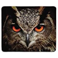 dealzEpic - Art Mousepad - Natural Rubber Mouse Pad Printed with Great Horned Owl Staring with Red Eyes - Stitched Edges - 9.5x7.9 inches