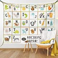 "Lunarable ABC Tapestry, Colorful Cartoon Zoo Animals Alphabet Owl Cat Panda in Squares on White Background, Fabric Wall Hanging Decor for Bedroom Living Room Dorm, 28"" X 23"", Orange White"