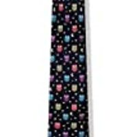 Men's 100% Silk Black & Colorful Night Wise Owls Skinny Narrow Tie Necktie