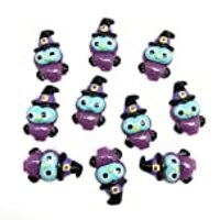 PEPPERLONELY 10PC Halloween Purple Owl with Hat Resin Flatback Cabochon DIY Flatback Scrapbooking Embellishment Decoration Craft Making, 19 x 31mm