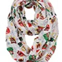 D&Y Christmas Theme Sheer Loop Infinity Scarf, Owl Christmas