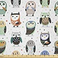 Lunarable Owl Fabric by The Yard, Cartoon Owl Illustration with Funny Expressions on Colorful Star Filled Background, Decorative Satin Fabric for Home Textiles and Crafts, 1 Yard, Multicolor