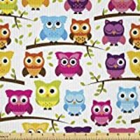 Lunarable Owls Fabric by The Yard, Owls in The Forest Woodland Celebration Friendship Togetherness Themed Artwork Print, Decorative Satin Fabric for Home Textiles and Crafts, 1 Yards, Green Magenta
