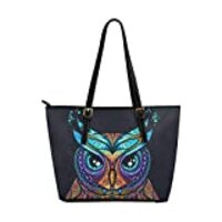 InterestPrint Vintage Owl with Tribal Ornament Women's Leather Tote Large Shoulder Bag with Zipper
