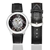 InterestPrint Bohemian Dreamcatcher and Owl Women's Black Leather Strap Watch Waterproof Classic Watches