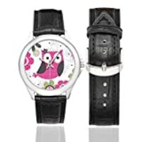InterestPrint Cute Owl with Polka Dots and Flowers Women's Waterproof Classic Leather Strap Watch, Black