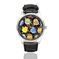 InterestPrint Men's Waterproof Watches Colorful Cute Owls Black Leather Strap Wrist Watch