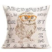 Asamour Adorable Cartoon Owl Wearing Glasses Pillow Covers Cotton Linen Home Decor Pillowcases Alphabet Learning 26 Letters and Numbers Decorative Throw Pillow Case Cushion Cover 18''x18'' for Babies
