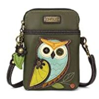 Chala Crossbody Cell Phone Purse - Women PU Leather Multicolor Handbag with Adjustable Strap - Owl Gen II - Olive
