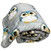 Just Home Fun Print Soft Cozy Lightweight 50 x 60 Fleece Throw Blanket (Tan with Turquoise Owls)