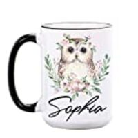 Owl Mug - Personalized 15 oz or 11 oz Large Ceramic Mugs - Cute Owl Gifts for Women, Girls - Owl Coffee Mugs - Animal Cups - Owl Cups - Dishwasher & Microwave Safe - Made In USA
